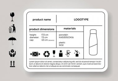 Product description sticker. Dimension and material descriptor. Cargo label. Shipping icons. Package brand depiction. Industrial design specification. icon
