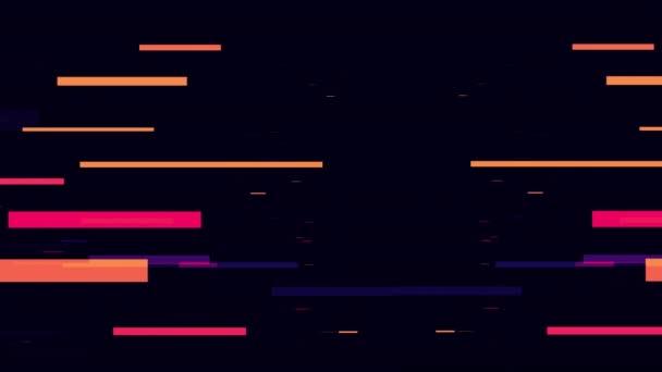 Hi-Tech Glitch Stripes Animationsmaterial. Neon Zukunft Speedlines. Leuchtende, verschwommene Lichtstreifen in Bewegung auf abstrakten Regenbogenstrahlen. Magische schnelle Linien Video 4k für Ihre Präsentation.