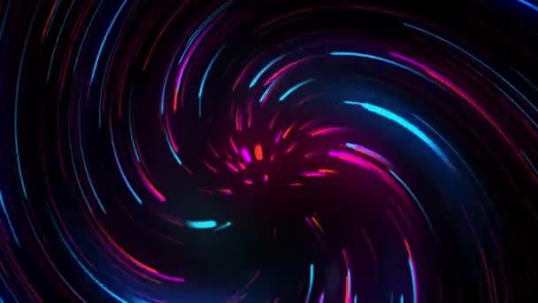 Barevné rozmazané světelné pruhy v pohybu na abstraktním pozadí. Duhové paprsky. Led Light. Budoucí technologie. Zářící dynamická scéna. Neonová erupce. Magic pohybující se rychlé linky video 4k pro vás prezentace.