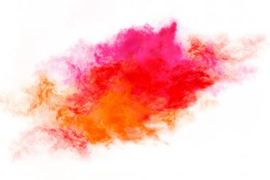 Colorful Dust Particle Explosion Isolated on White