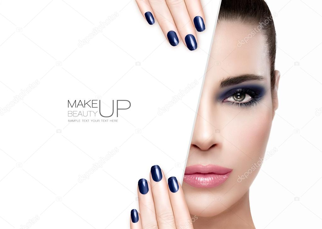 Beauty and Makeup Concept. Blue Nail Art and Make-up — Stock Photo ...