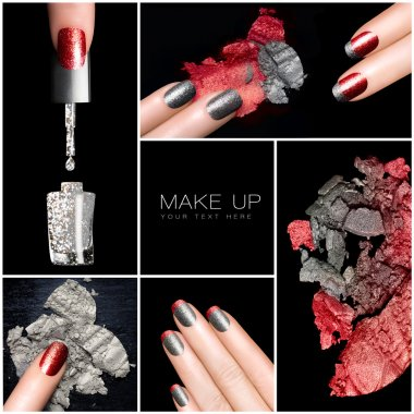 Makeup and Nail Art Trend. Manicure set