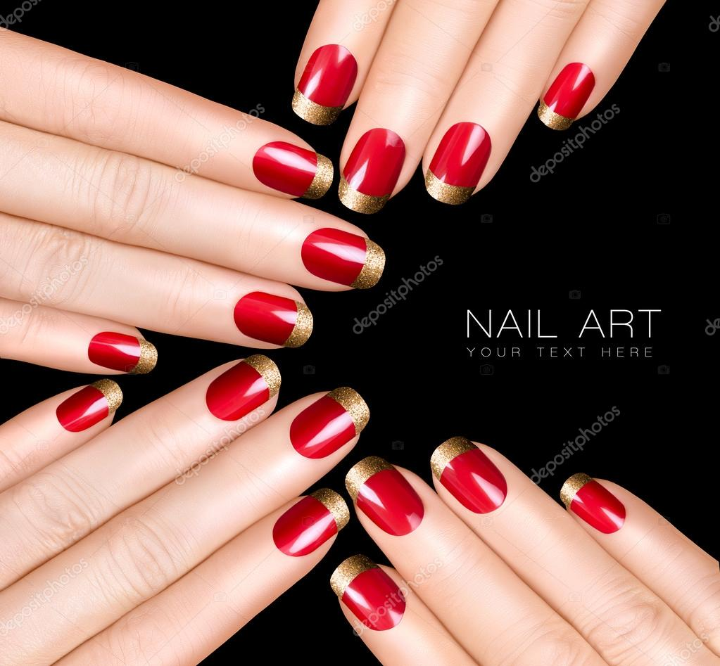 nagel kunst trend. luxe nagellak. Nail stickers — Stockfoto ...