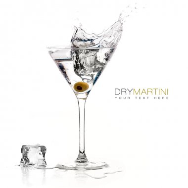 Dry Martini Cocktail. Splashes