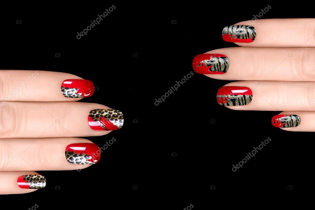 Nail Art Nagellak Stickers Met Dierlijke Print Stockfoto