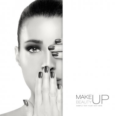 Beautiful Woman Face with Hands on Her Face. Template Design