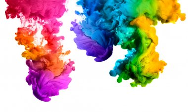 Colorful Ink in Water. Rainbow of colors. Color Explosion