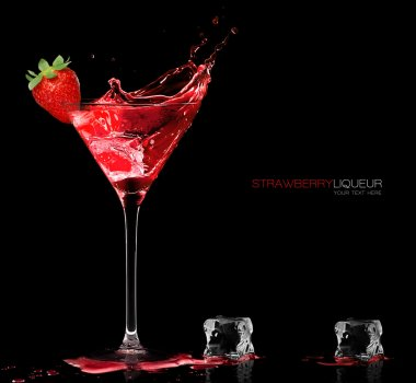 Stylish Cocktail Glass with Strawberry Liquor Splashing. Templat