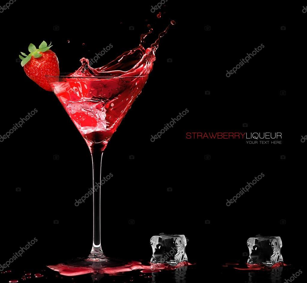 Stylish Cocktail Glass with Strawberry Liquor Splashing. Templat