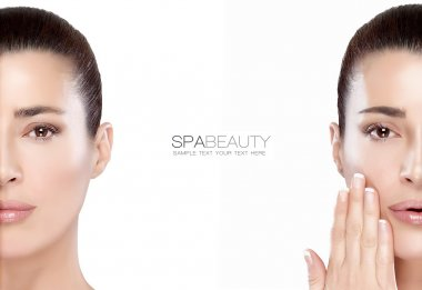 Beauty and Skincare concept. Two Half Face Portraits