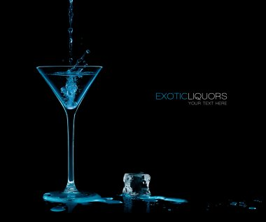 Cocktail Glass with Blue Spirit Drink Splashing. Template Design