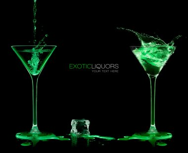 Two Cocktail Glasses with Green Liquor. Style and Celebration Co