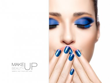 Beauty and Makeup concept. Blue Fashion Make-up