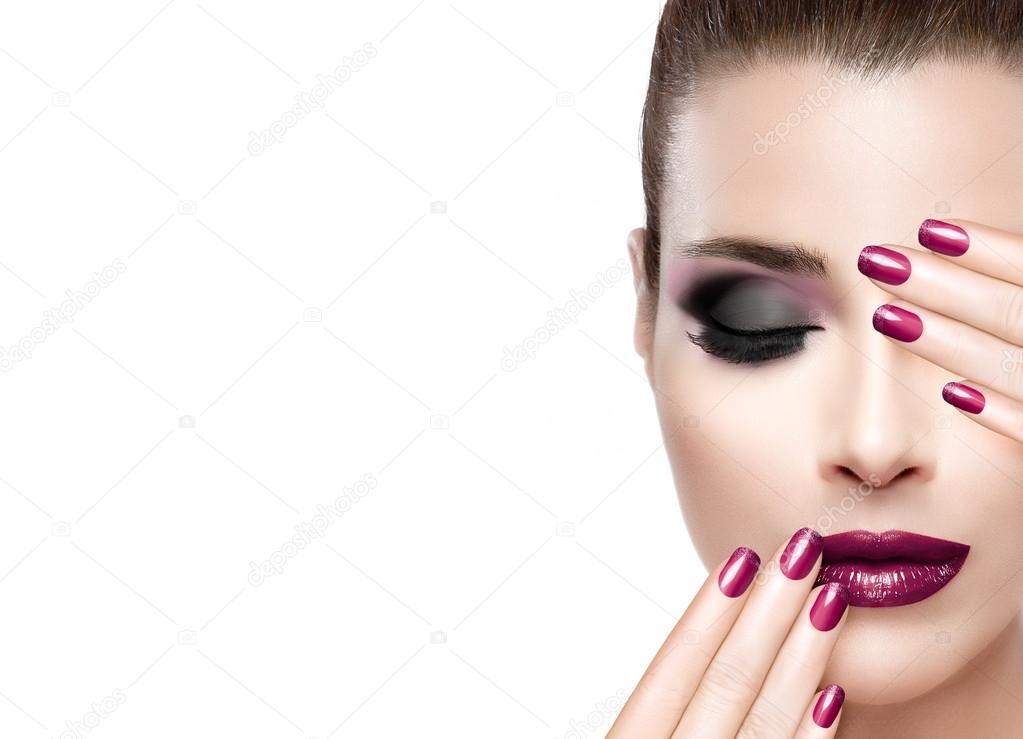 Beauty and Makeup concept. Luxury Nails and Make-up — Stock Photo ...