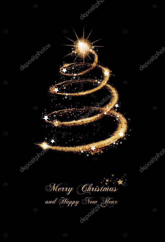 Immagini Glitterate Di Natale.Cartolina D Auguri Di Glitter Oro Elegante Albero Di Natale