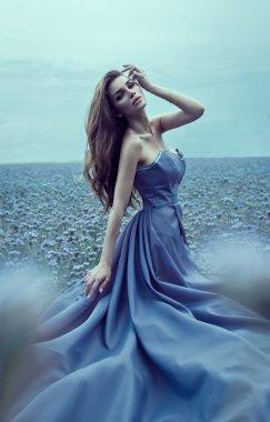 Beautiful bride in blue dress
