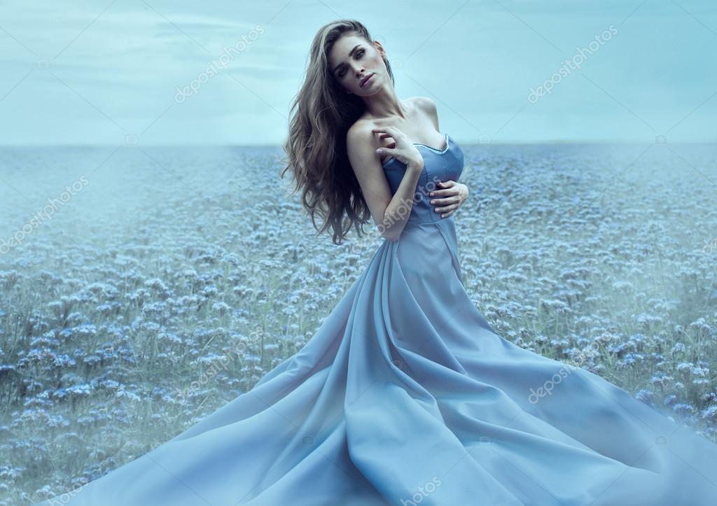 девушки платье белое фонари природа скачать