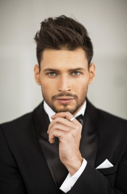elegant man in black suit