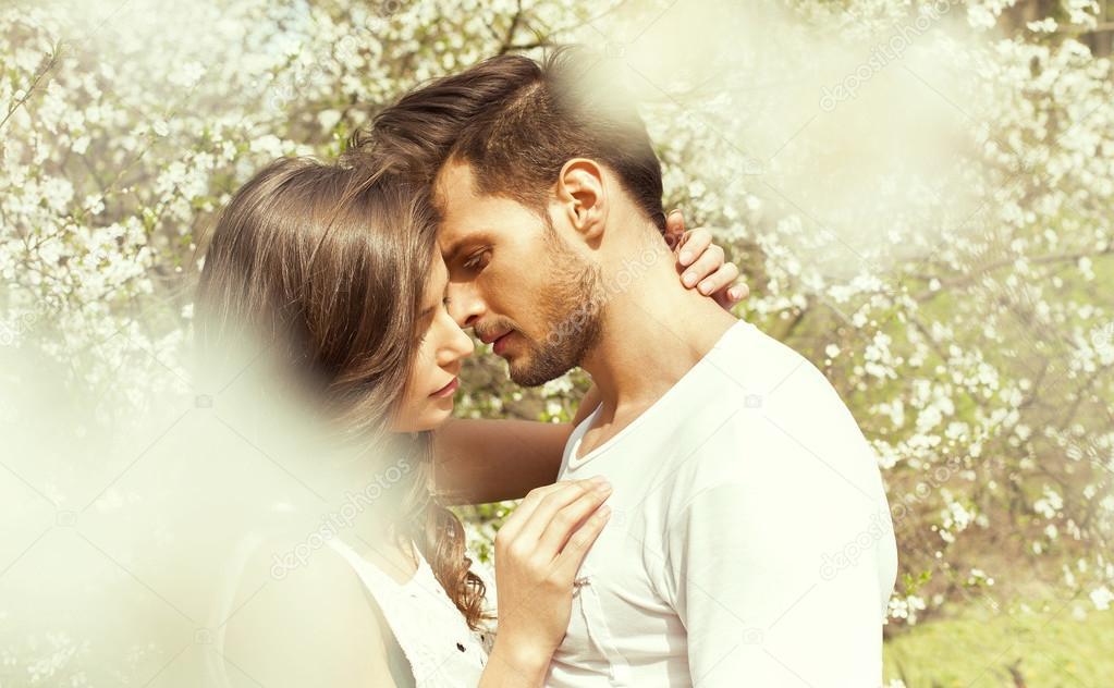 Beautiful kissing couple