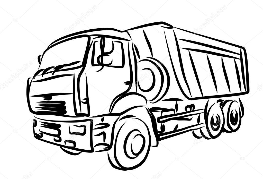Sketch of heavy dump truck. — Stock Vector © Designer_an #101089156