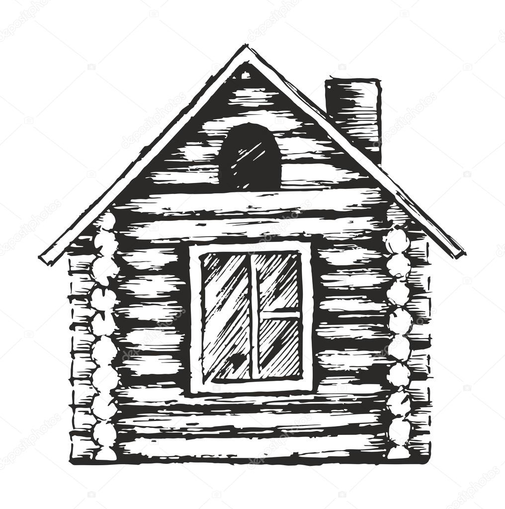 Drawing Of Wooden House. U2014 Stock Vector