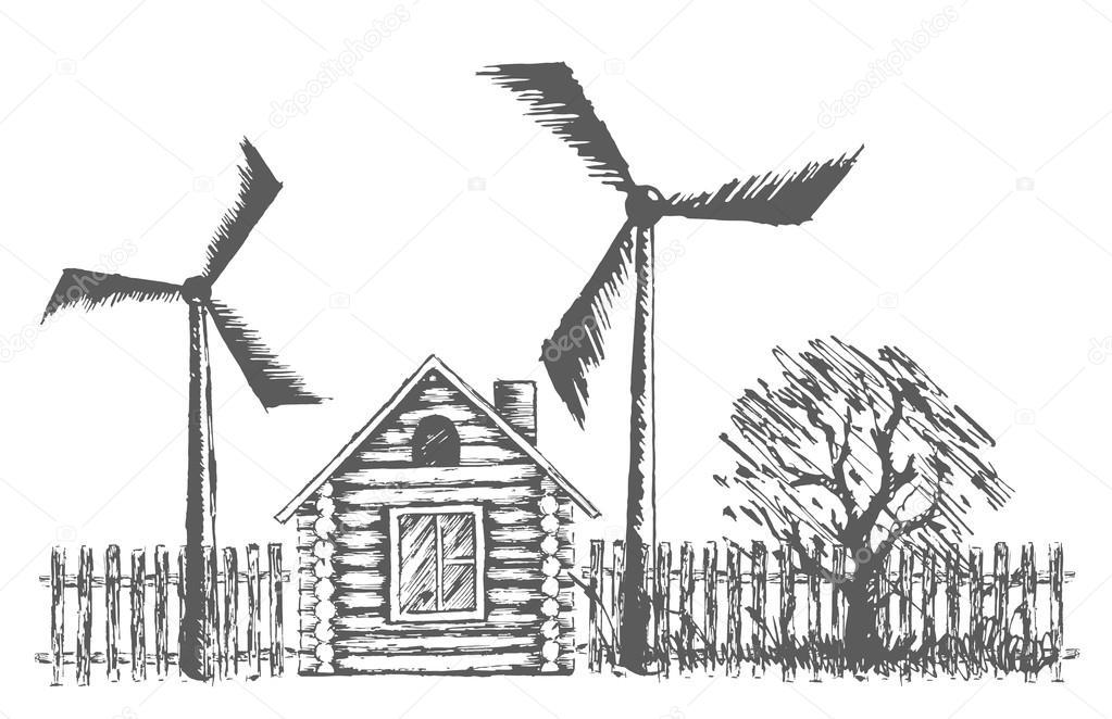 Dessin DUne Maison En Bois Avec Des Centrales oliennes  Image