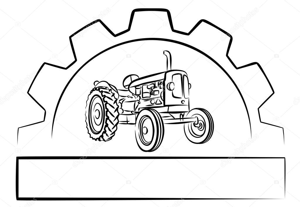 Rueda de tractor para colorear   tractor insignia con una rueda del ...