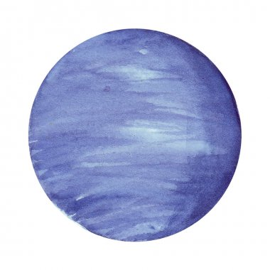 Neptun. Watercolor planet of solar system for print design. Art element. Isolated on white background.