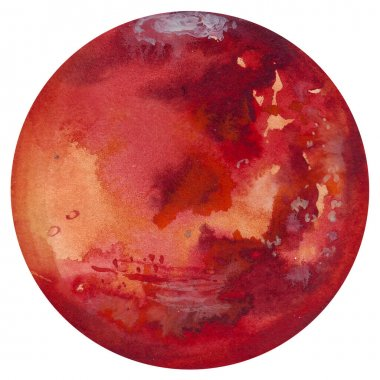 Mars. Watercolor planet of solar system for print design. Art element. Isolated on white background.
