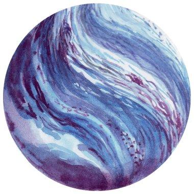 Uranus. Watercolor planet of solar system for print design. Art element. Isolated on white background.