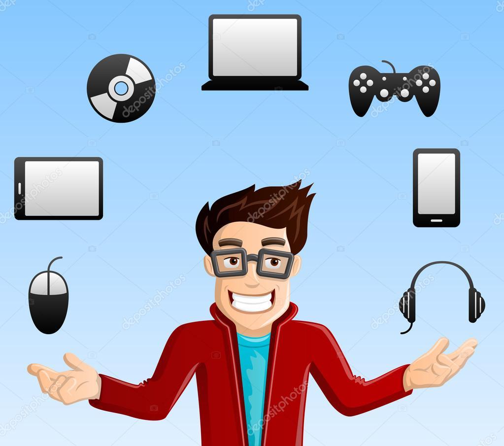 Redhead Computer Geek stock illustration. Illustration of