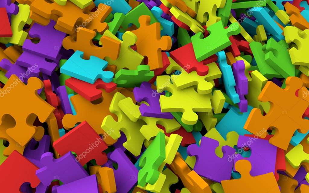 3D Pile Of Jigsaw Puzzle Pieces Stock Photo