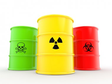 3d barrels with warning symbols