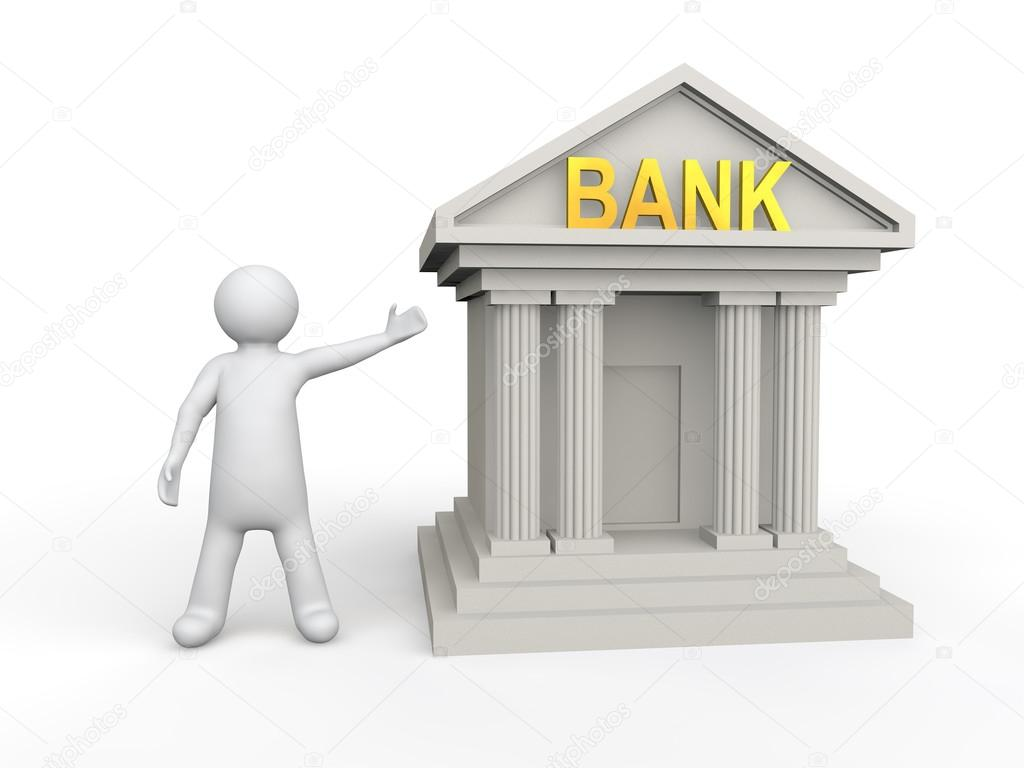 3d Man With Bank Building Stock Photo C Mrhighsky 90981540