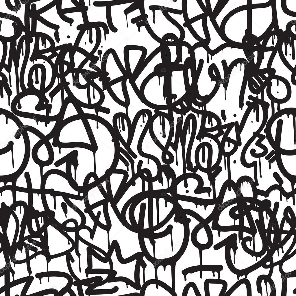 Graffiti background seamless pattern vector tags writing graffiti hand style old school king of style street art texture monochrome black and white