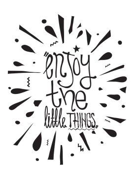 Simple vintage motivational poster, doodles, vector illustration