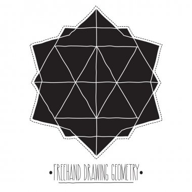 Black filled geometric shapes and elements with lines, polyhedro