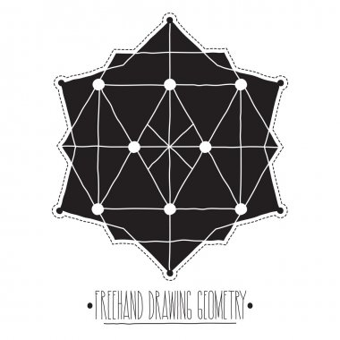 Black filled geometric shapes and elements with lines, triangles