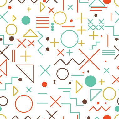 Mathematical symbols seamless pattern with simple colorful geome