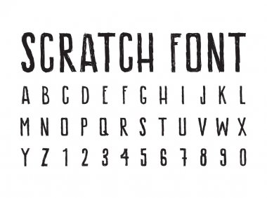 Simple decorative font shabby grungy letters