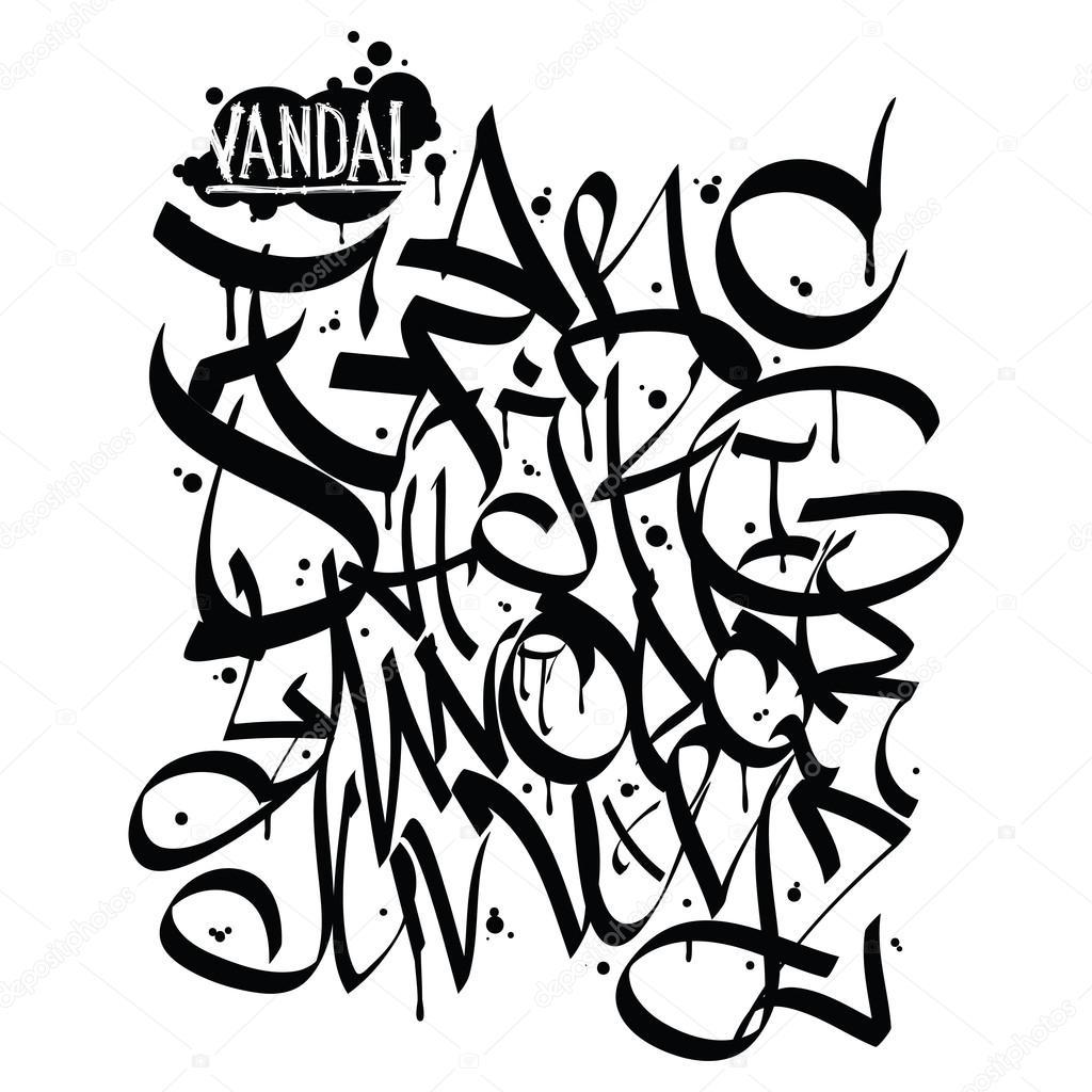 graffiti font alphabet letters hip hop grafitti design stock vector