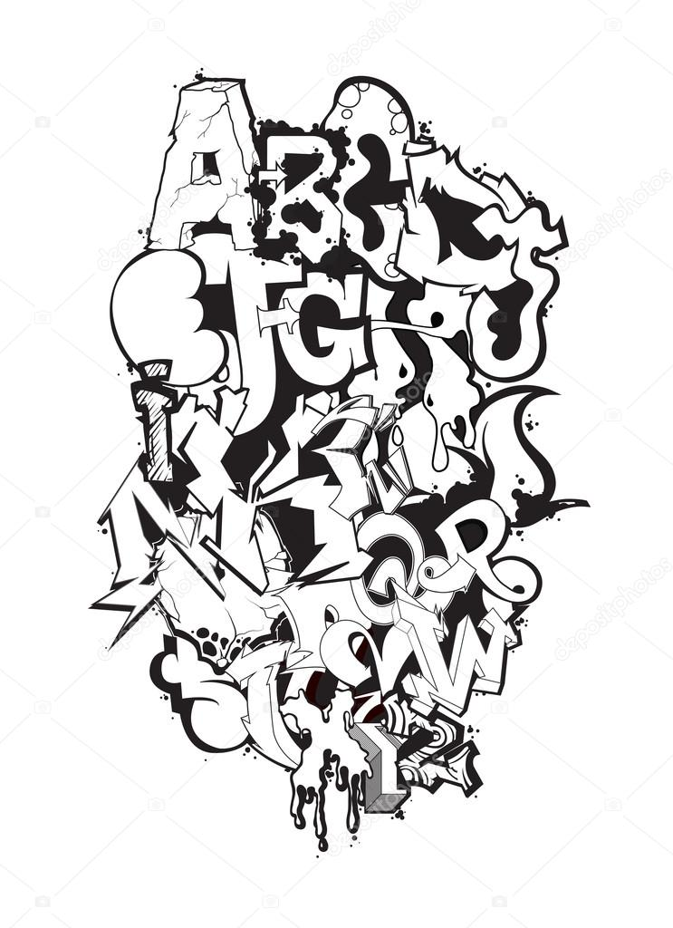 Graffiti Font Alphabet Letters Hip Hop Grafitti Design Stock Vector