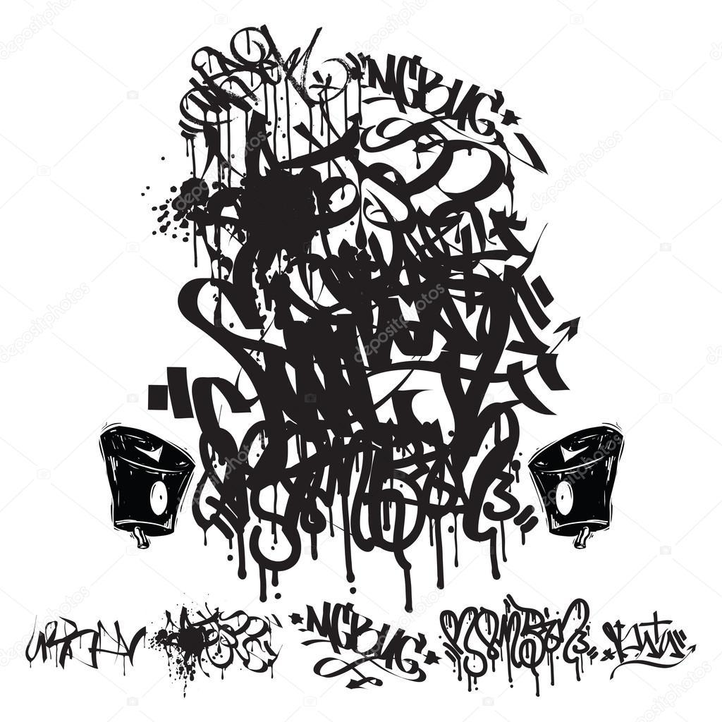Vector Graffiti Tags Writing Stock Vector Vanzyst 80218186