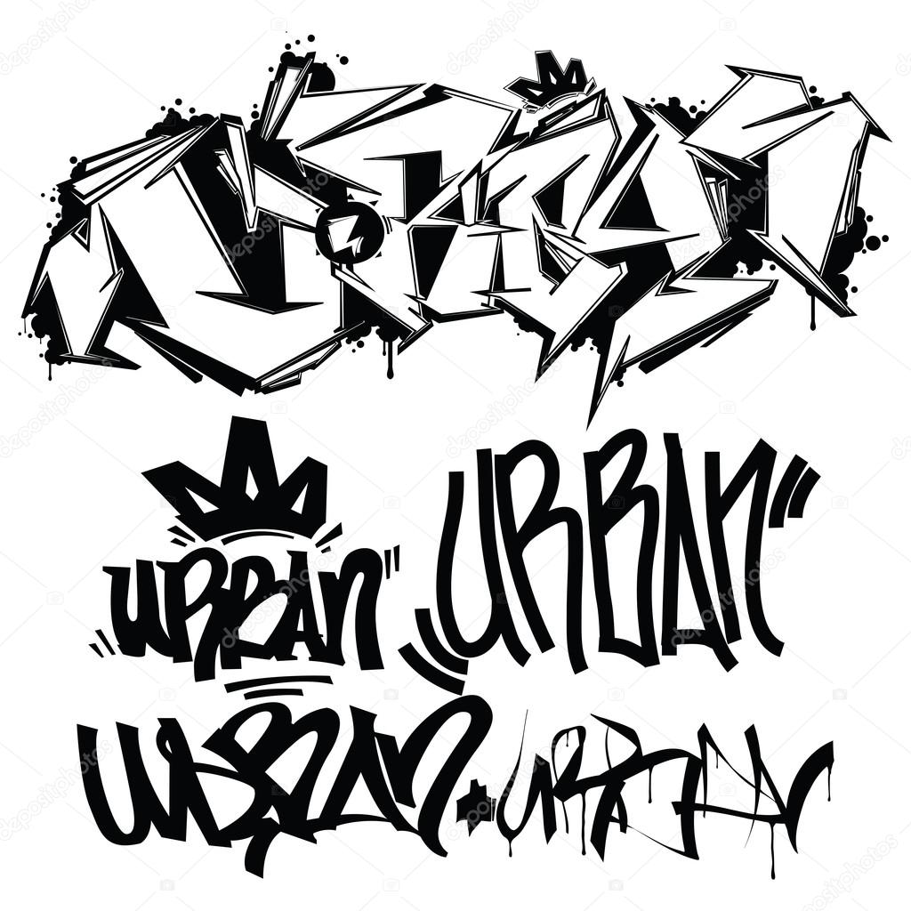 Urban typography graffiti tags vector by vanzyst