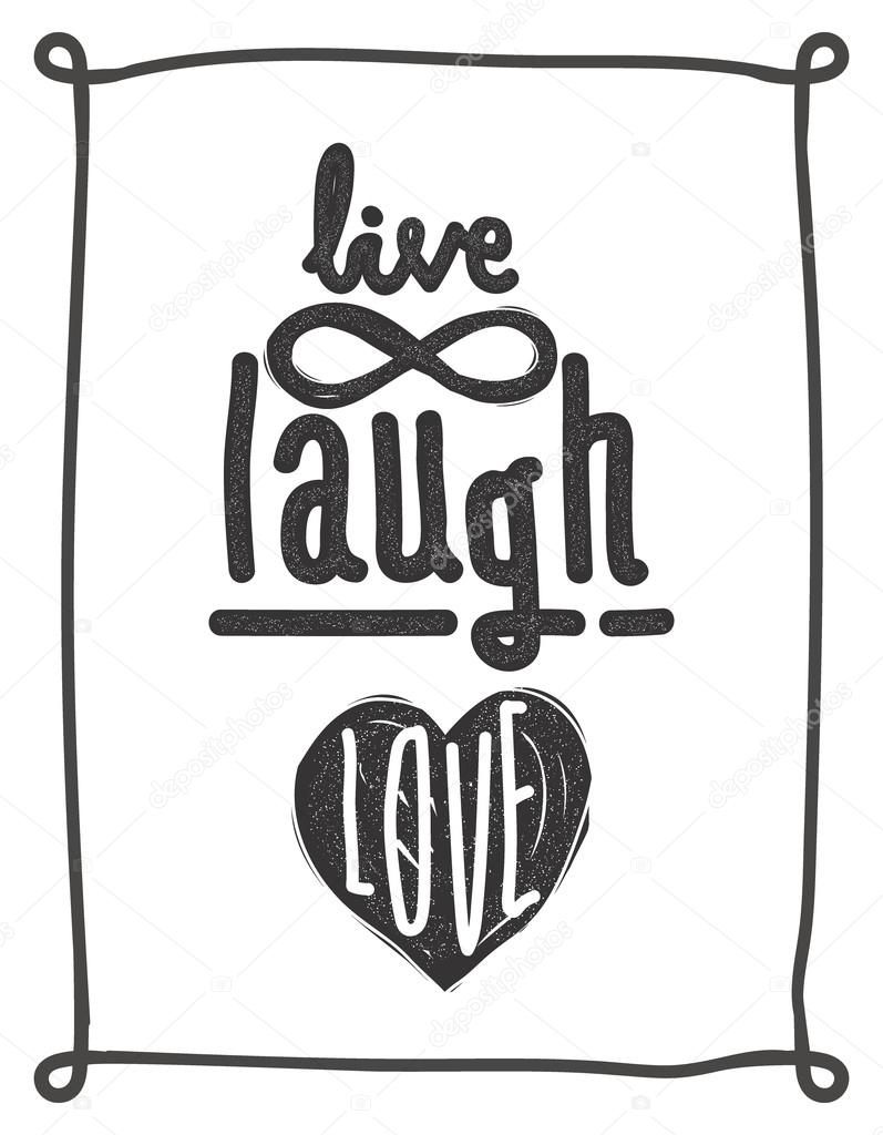 Leben, lachen, lieben. Einfachen Schriftzug Angebot mit chaotischen ...