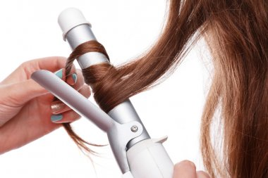 Curling iron and hair