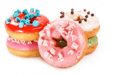 Colorful donuts on  background