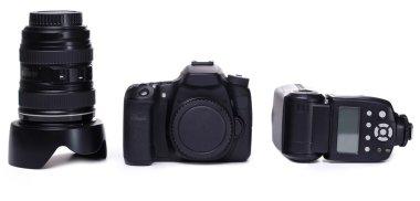 DSLR camera body, lens and flash