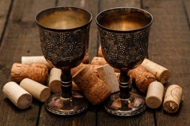 Medieval goblets and wine corks
