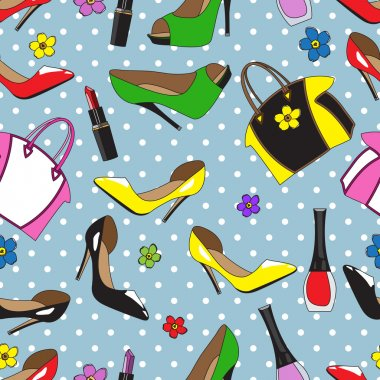 Pattern with women's stuff in the style of pop art.